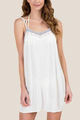 francesca's Petula Embroidered Tie Strap Swim Cover-Up - Ivory