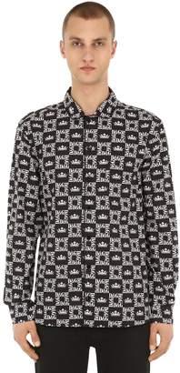 Dolce & Gabbana Logo Printed Cotton Poplin Shirt