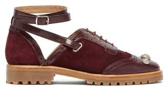 Rue St. - Bilkov Cut Out Suede And Leather Oxford Shoes - Womens - Burgundy