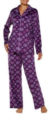 Secret Treasures Women's Button up Notch Neck Knit Pajama 2 Piece Sleepwear Set