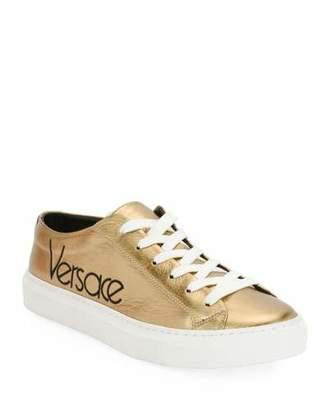 Versace Metallic Logo Platform Low-Top Sneakers