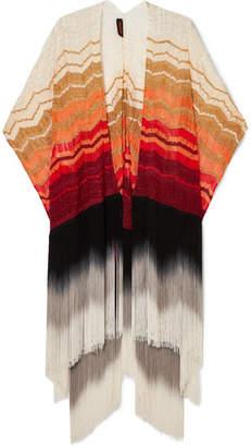 Missoni Fringed Metallic Crochet-knit Wrap - White