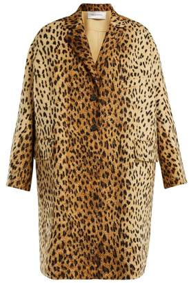 Valentino Leopard Print Wool Blend Coat - Womens - Leopard