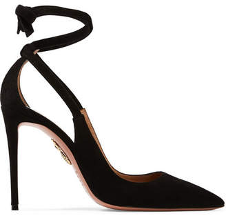 Aquazzura Milano Cutout Suede Pumps - Black