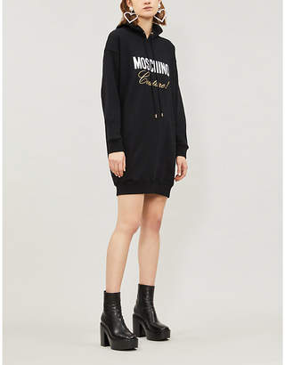 Moschino Slogan-embroidered cotton-jersey hoody dress