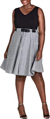 City Chic Mixed Media Dress