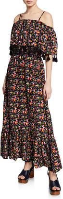 philosophy Off-the-Shoulder Floral Tassel Maxi Dress