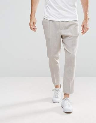 Asos Design Tapered Smart Pants In Oatmeal Texture