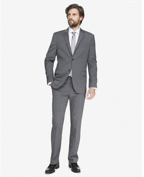 Express Modern Producer Wool Blend Black Suit Jacket
