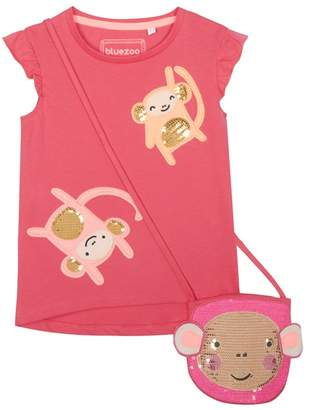 Bluezoo BLUE ZOO 'Girls' Pink Sequinned Monkey T-Shirt And Bag Set