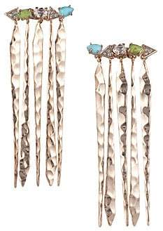 Alexis Bittar 10K Gold & Rhodium-Plated Multi-Stone Crystal Fringe Dangle Drop Earrings