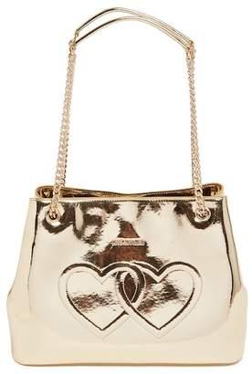 Love Moschino Metallic Embossed Hearts PU Leather Shoulder Bag