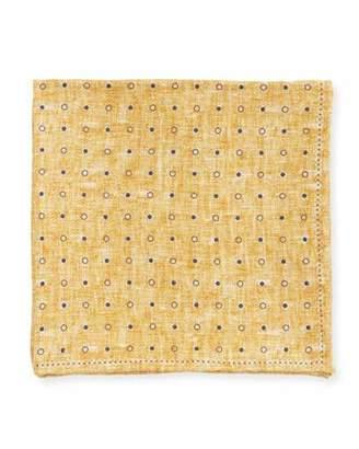 Edward Armah Dot Silk Pocket Square, Dark Yellow