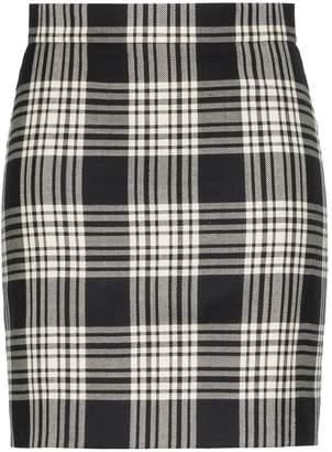 House of Holland x THE WOOLMARK COMPANY check print high-waisted woollen skirt