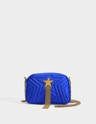 Stella McCartney Satin Mini Stella Star Shoulder Bag in Black Eco Fabric