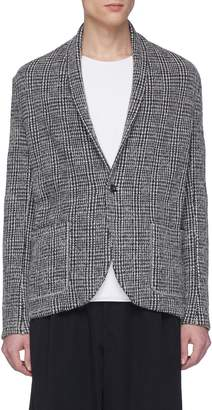 Attachment Shawl lapel check plaid brushed cardigan