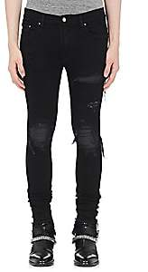 Amiri Men's MX1 Leather-Inset Slim Jeans-Black