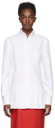 Thom Browne White Drop Waist Knife Pleat Shirt
