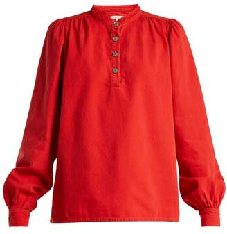 Ganni Half Button Denim Blouse - Womens - Red