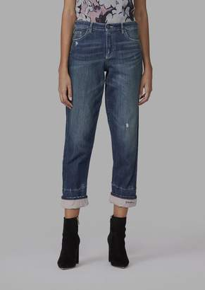 Giorgio Armani Japanese Denim Five-Pocket Jeans With Embroidered Hem Detail