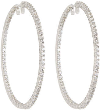 Penny Preville 18k White Gold & Diamond Engraved XL Hoop Earrings