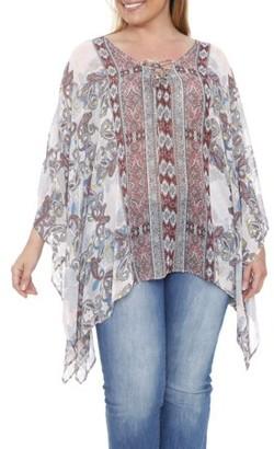 White Mark Women's Plus Size Poncho Blouse With Multi Print