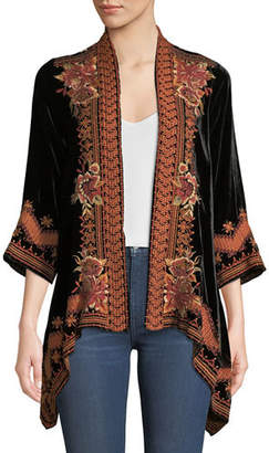 Johnny Was Elim Draped Velvet Cardigan, Plus Size