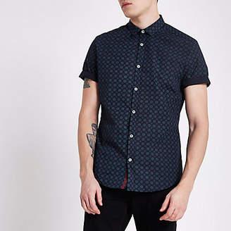 River Island Mens Navy tile print slim fit short sleeve shirt