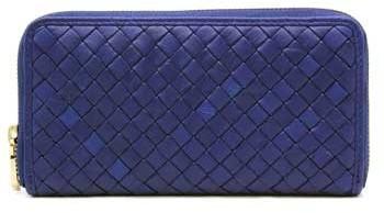 "Christopher Kon PL01144"" Cobalt Blue Leather Woven Wallet"