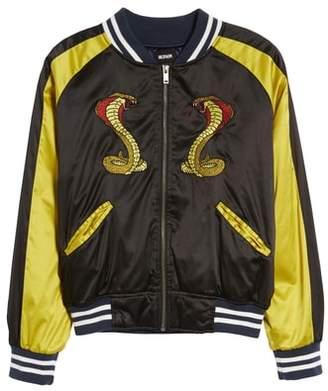 Hudson Snake Satin Bomber Jacket