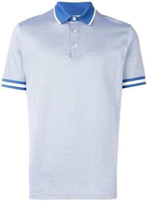Canali striped trim polo shirt