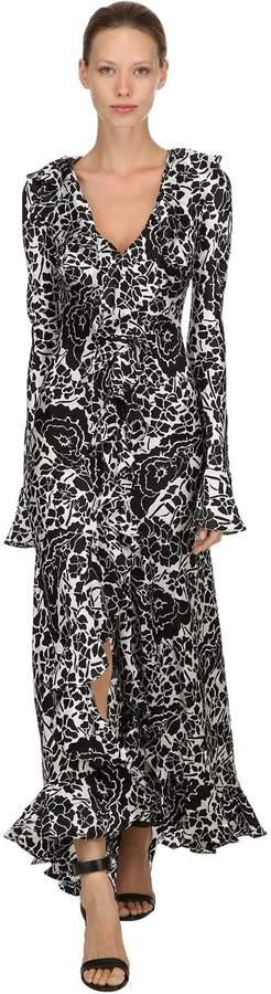 Tangerine Oriental Silk Long Dress