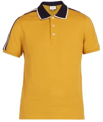 Gucci Logo Sleeve Cotton Blend Pique Polo Shirt - Mens - Yellow