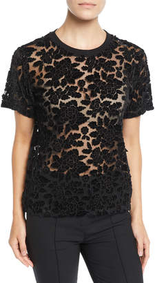 7 For All Mankind Easy Velvet Lace Crewneck Top