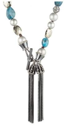 Alexis Bittar Beaded Double Tassel Single Strand Necklace