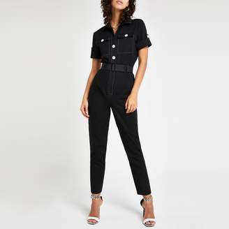 River Island Womens Black belted utility jumpsuit