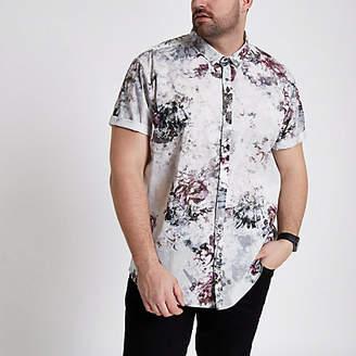 River Island Big and Tall cream floral short sleeve shirt