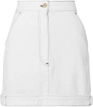 Public School Paige White Denim Mini Skirt