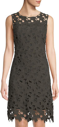 T Tahari Sleeveless Floral Lace Sheath Dress