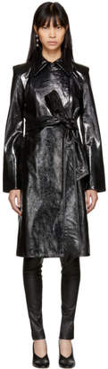 Helmut Lang Black Leather Pleasure Trench Coat