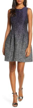 Vince Camuto Metallic Ombre Fit & Flare Dress