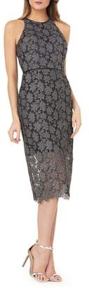 JS Collections Metallic Lace Midi Sheath Dress