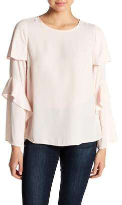 Design History Crew Neck Double Sleeve Ruffle Top