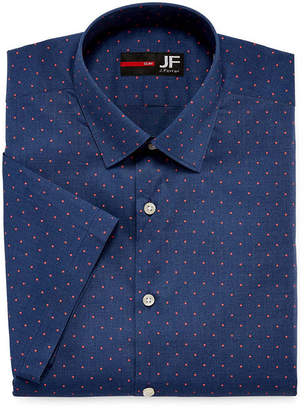 Jf J.Ferrar JF  Stretch Short Sleeve Broadcloth Pattern Dress Shirt - Slim