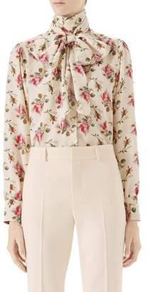 Gucci Rose-Print Silk Shirt