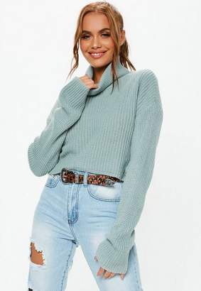 Missguided Tall Green Turtle Neck Knit Crop Sweater