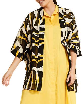 Marina Rinaldi Plus Size Figurato Printed Shawl-Collar 3/4-Sleeve Jacket