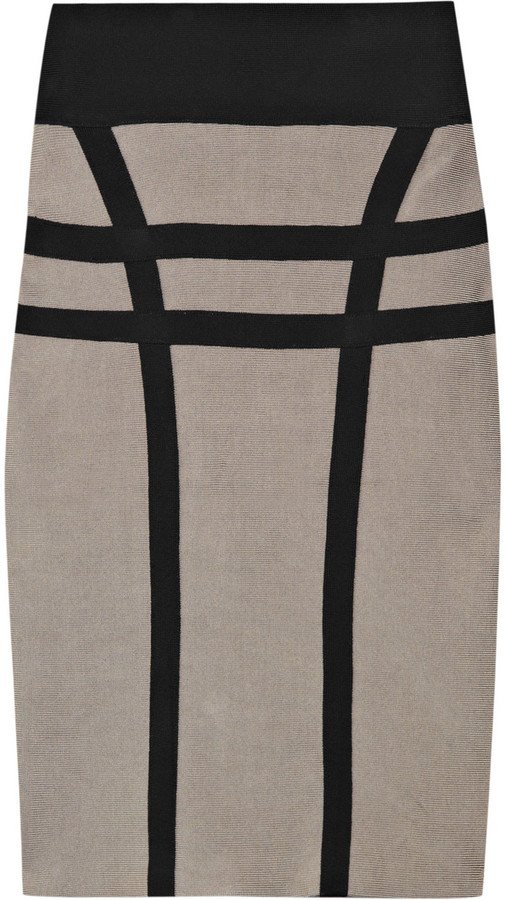 Hervé Léger Contrast bandage pencil skirt