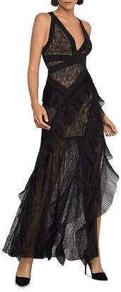 BCBGMAXAZRIA Tulle & Lace Gown