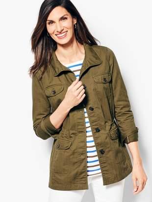 Talbots Twill Herringbone Safari Jacket